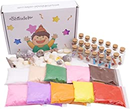 DIY Arts Crafts Kit, Sand Art Bottles Arts and Crafts Party Set for Kids, 20 Bottles, 10 Bags of Sand, Beach Seashells