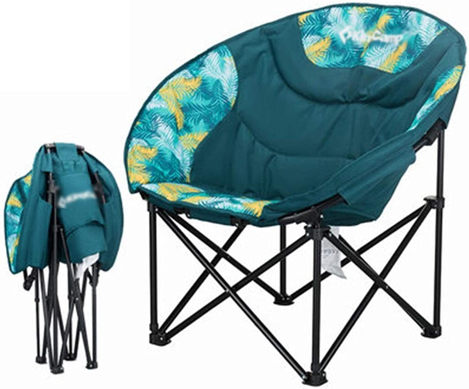 Green Outdoor Camping Chair, Cloth Plus Cotton Indoor and Outdoor Round Folding Chair Portable Folding Easy to CarryCan Bear 120kg