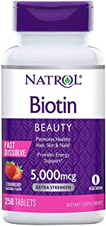 Natrol Biotin 5000 mcg, Strawberry Flavor, Fast Dissolve Tablets, Extra Strength, 250 Count