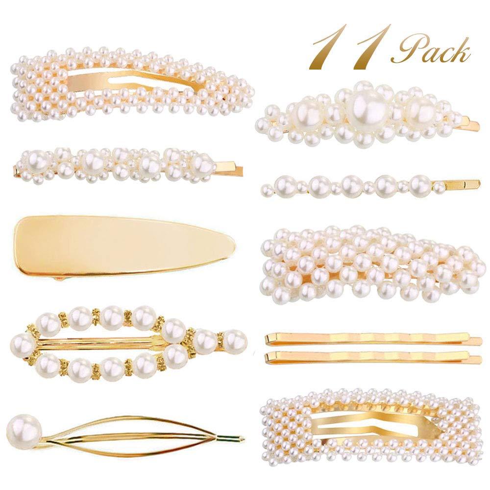 Souarts 11PCS Pearl-Hair-Clips Hair Barrettes for Women Girls Pearl Gold Hair Pins Wedding Bridal Accessories Hairpins