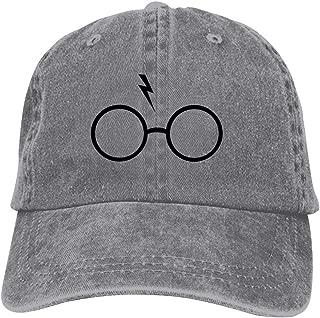 LeoCap Glasses and Scar Baseball Cap Unisex Washed Cotton Denim Hat Adjustable Caps Cowboy Hats