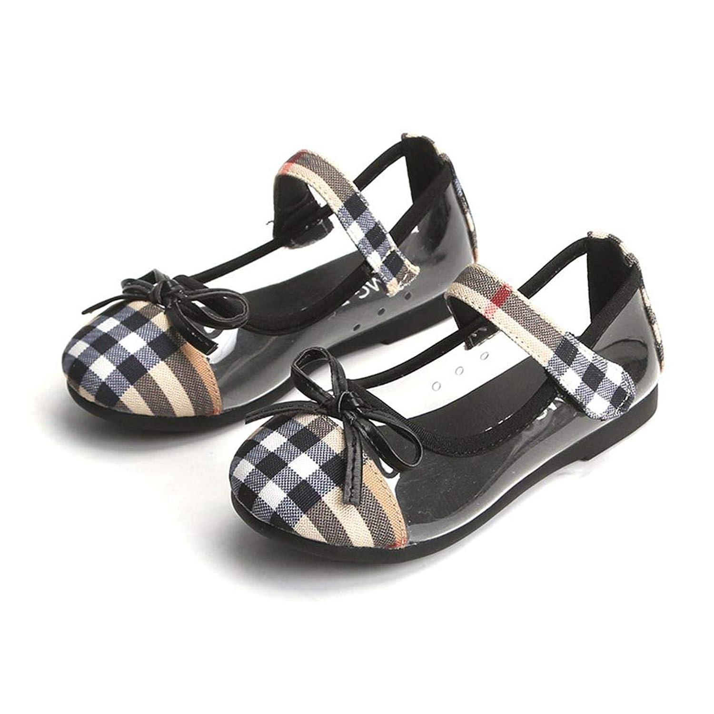 [binbin] 子供サンダル 2019新しい夏 チェック柄の布のビーチシューズ弓王女の靴ビッグ子供