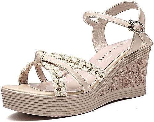Escarpins Sandales Pour Femmes Chaussures De Magasinage Chaussures De Danse De Discothèque Chaussures Compensées Pour Le Vent Féerique Sandales Compensées D'été ( Couleur   Beige , Taille   36 US6 )