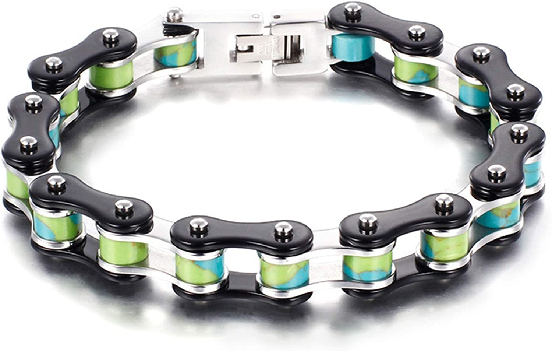 Daesar Bracelet for Fixed price for sale Men Stainless Great interest Biker Green Steel Blue Chain