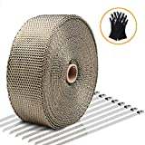 Exhaust Wrap LIBERRWAY Header Wrap Exhaust Heat Wrap for Exhaust Pipes Tap Kit for Car Motorcycle, 2'x50ft with 10 Stainless Ties and Gloves
