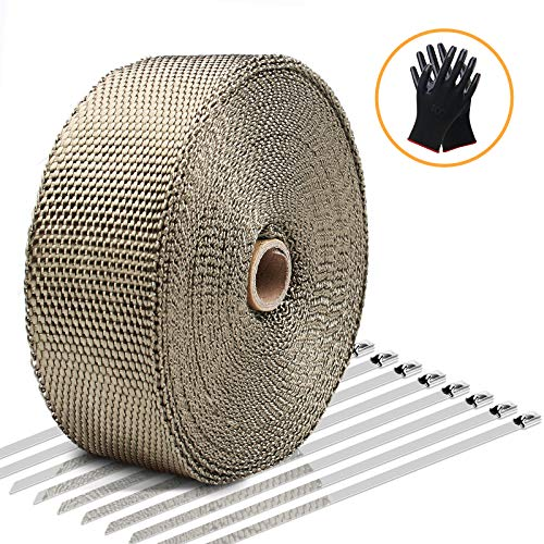 Exhaust Wrap LIBERRWAY Header Wrap Exhaust Heat Wrap Tap Kit for Car Motorcycle, 2' x50Ft with 10...