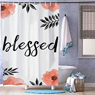 Danings Blessed Shower Curtain for Bathroom Small Set 36 x 72 inches Polyester Fabric Water Repellent Odorless Bath Stall Size with 7 Hooks