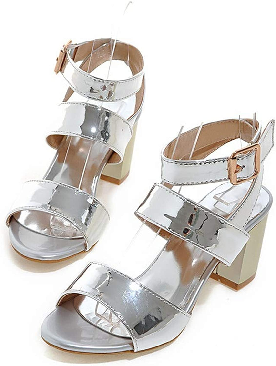 GAO-GEN1 Large Size 34-45 Women Sandals shoes in Summer Solid PU Buckle Party shoes Sexy Lady high Heels shoes