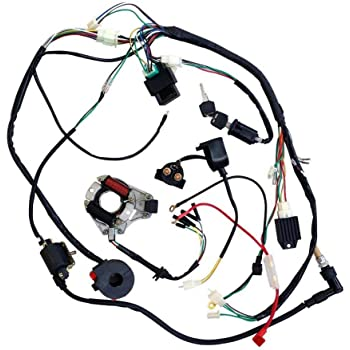 Amazon Com Zxtdr Full Wiring Harness Loom Kit Cdi Coil Magneto Kick Start Engine For 50cc 70cc 90cc 110cc 125cc Atv Quad Bike Buggy Go Kart Pit Dirt Automotive