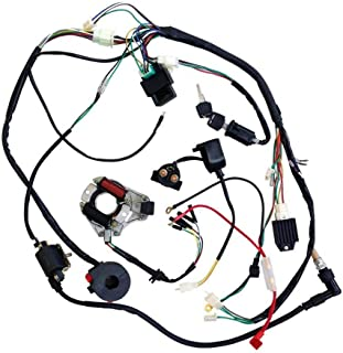 jcmoto full wiring harness loom kit cdi coil magneto kick start engine for  50cc 70cc 90cc