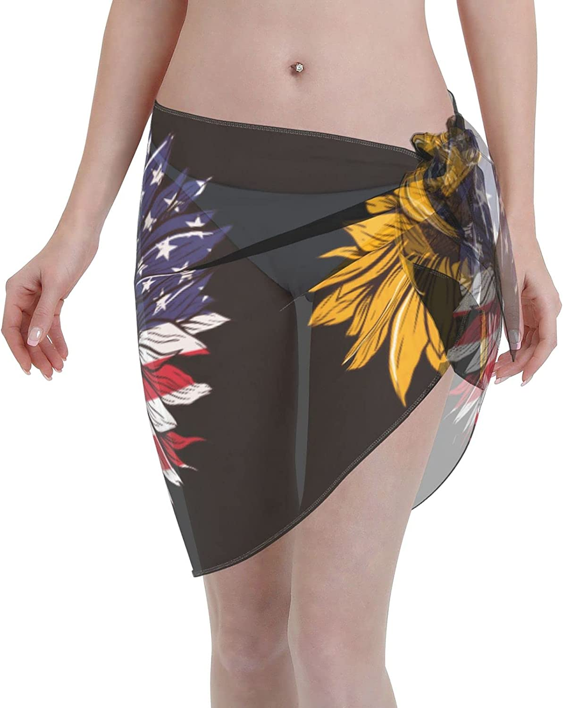 Reindeer Horn Women Short Us Flag Single Sunflower Sarongs Cover Ups Beach Chiffon Sarong Bikini Swimwear Black