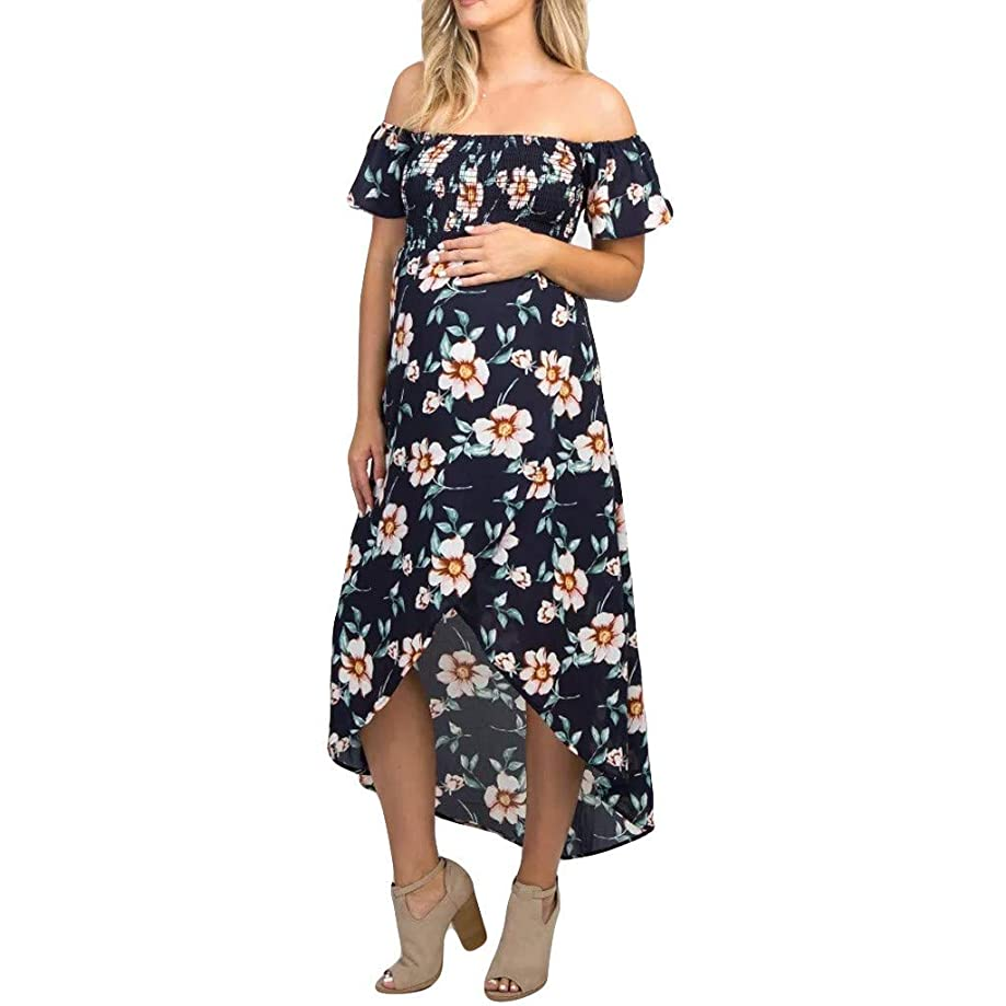Womens Pregnant Off Shoulder Floral Print Dress Irregular Maternity Long Dress Clothes
