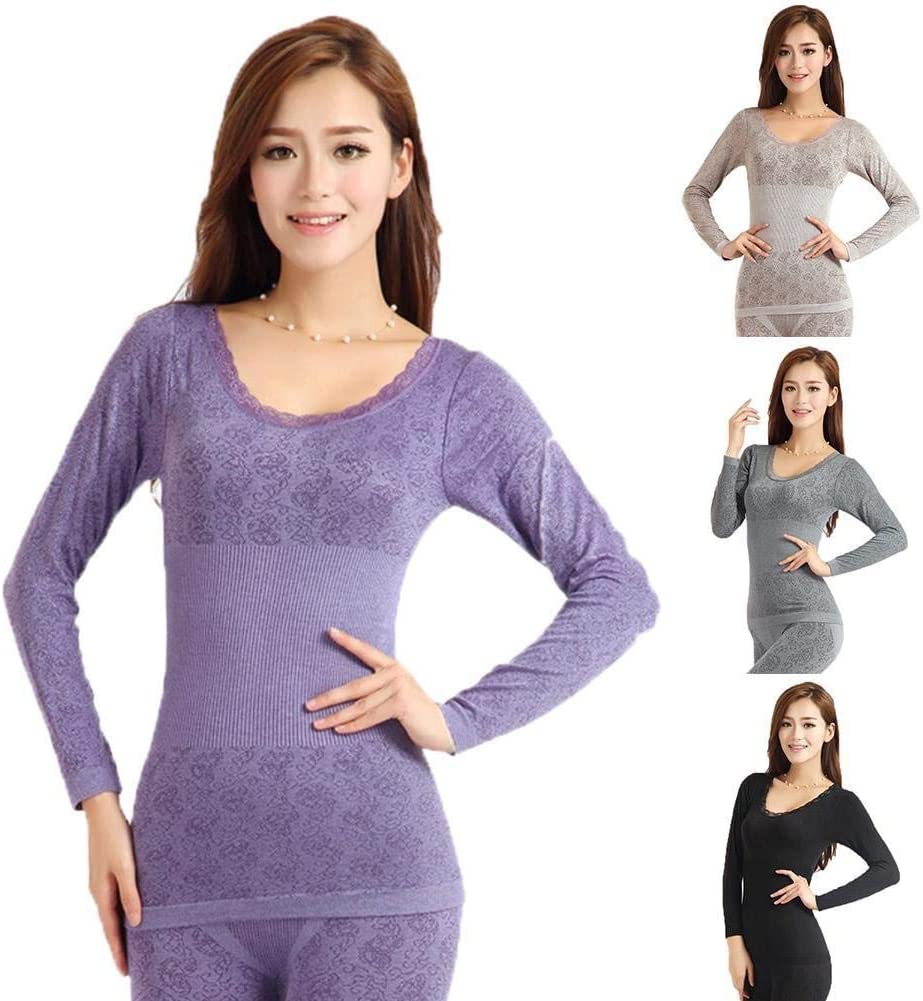 Winter Women Thermal Underwear High Elasticity O-Neck Top Long Johns Pajama Set Ladies Sexy Lace Intimates Underwear (Color : Coffee, Size : One Size)