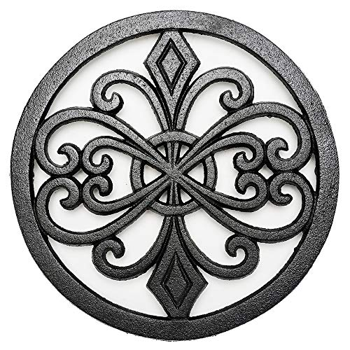 Sungmor Trivet de metal redondo de hierro fundido, resistente a la corrosión, soportes negros para sartenes calientes o tetera, decoraciones de mesa de cocina o comedor