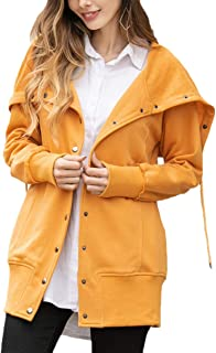 Dawwoti Women's Single Breasted Jacket Solid Color Casual Over Coat