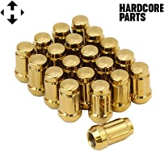 Smart Parts 20 Qty Gold Closed End Spline Drive Lug Nuts with Key- Metric 12x1.5 Threads - Conical Cone Taper Acorn Seat Closed End - 1.4
