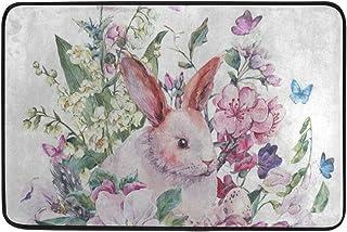 Floral Print Butterfly Rabbit Easter Larger Outdoor Door Mat 24 x 36 Inch Shoes Scraper for Front Door Entrance Outside Doormat Patio Rug Dirt Debris Mud Trapper Waterproof Out Door Mats Low Profile W