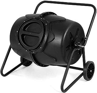 Pooltana Black 50 Gallon Compost Tumbler Iron Plastic Wheeled Twist Lock Lid Garden Kitchen Home Waste Bin Grass Food Trash Barrel Fertilizer Outdoor