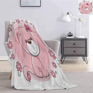Luoiaax Dog Flannel Fleece Throw Blanket Cute Little Puppy with Daisy Flowers Cheerful Adorable Domestic Pet Girls for Living Room Bed or Couch Blanket W60 x L80 Inch Pale Pink Coral White