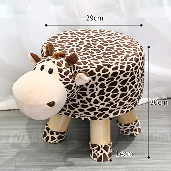 QTQZDD Solid Wood Children S Stool Cartoon Small Plush Ottoman Creative Animal Footstool For Home Upholstered Ride On Change Shoe Bench C