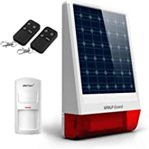 Solar Powered Siren,Wolf-Guard Solar Security Alarm System JD-06 Simple Burglar System Outdoor Siren Come with Motion Sensor, Remote Controller(120db) for Home/car Alarm/Garden