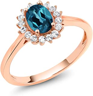 10K Rose Gold 1.14 Ct Oval London Blue Topaz White Created Sapphire Ring