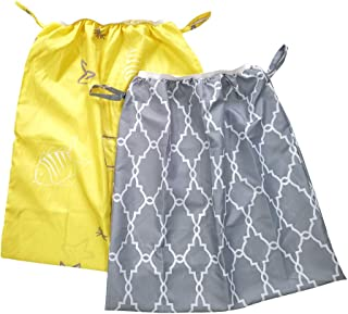 Diaper Pail Liner, Washable & Reusable Storage Bag for Cloth Diaper 2 Pack (Gray,  Yellow)