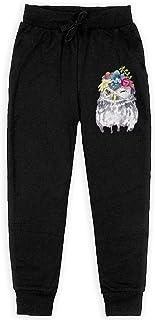 Yuanmeiju Watercolor Floral Owl Boys Pantalones Deportivos,Pantalones Deportivos for Teens Boys Girls