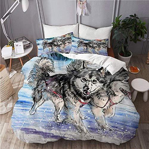 88888 3-teiliges Bettwäscheset für King-Size-Bett, 220 x 230 cm, Motiv: Alaskan Malamute