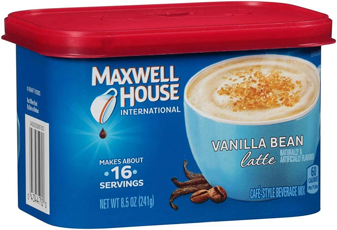 Maxwell House International Cafe Vanilla Bean Latte Instant Coffee 8 5 Oz Canisters Pack Of 8