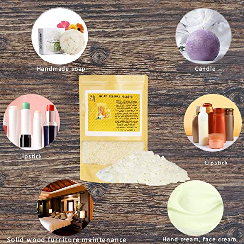 Howemon White Beeswax Pellets 2LB 100% Pure and Natural Triple Filtered for Skin, Face, Body and Hair Care DIY Creams, Lotions, Lip Balm and Soap Making Supplies