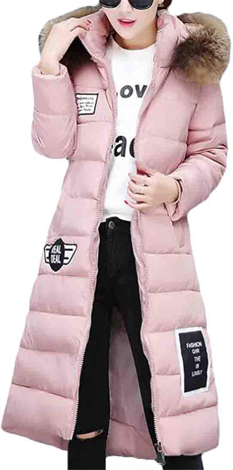 JXG Women Faux Fur Collar Thick Zip Up Hoodie Quilted Slim Fit Puffer Down Jacket