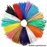 PLASFIL 15 Vibrant Colors 3D Pen Filament Refills 1.75mm ABS Filament Pack 20Feet Each Color
