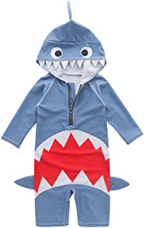May's Kids Boys Shark Design Sun Protection Swimwear Swimming Bathing Onepiece Swimsuit