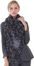 Fringed Ladies Scarf, European and American Fashion Printing Pattern Multi-Function Warm Long Wool Shawl, 180 * 116CM,Black