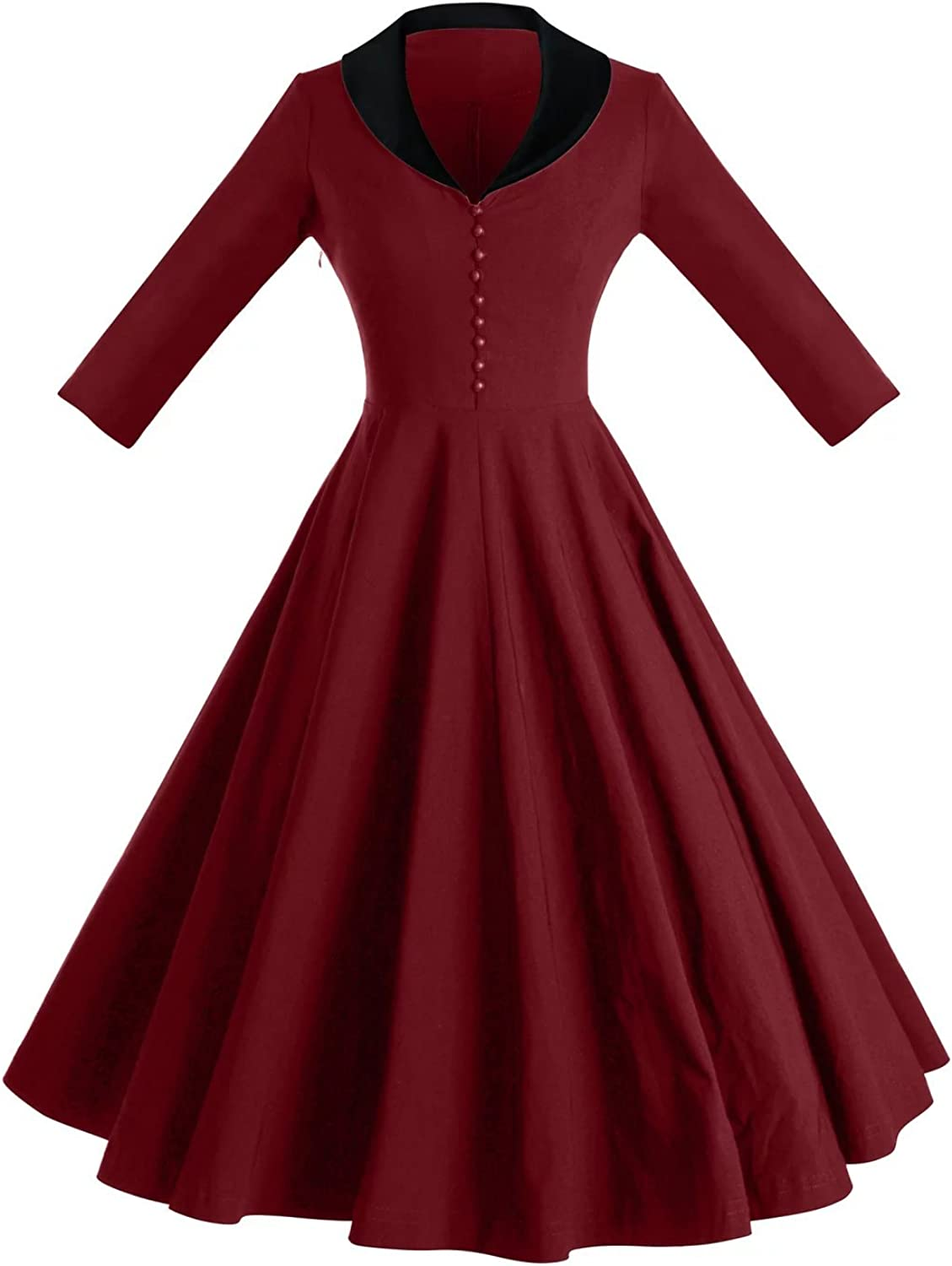 GownTown Womens Dresses Cape Collar 3 4 Sleeves 1950s Vintage Dresses Swing Stretchy Dresses