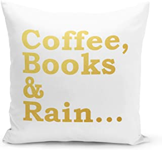 Coffee Books Pillow Polyester White Pillow with Metalic Gold Foil Print Reading Couch Pillows