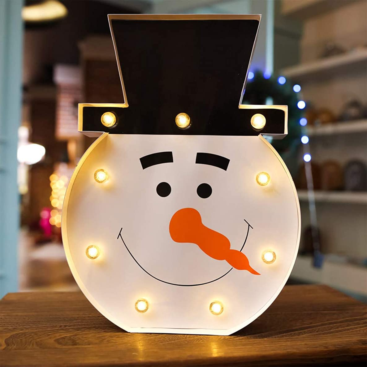 Glumes Christmas Snowman Light 9 LED Night Light Wall Decor Battery Operated Table Lamps for Party Children Kids Bedroom Birthday Christmas Decoration Gifts for Kids|US Warehouse Shipment (Snowman)