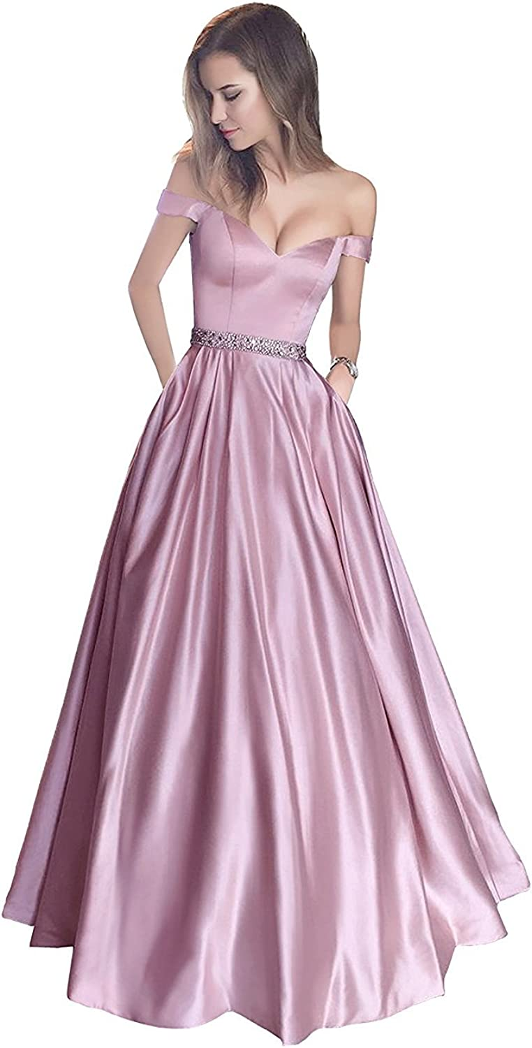 Ellystar Women's Sleeveless Off The Shoulder Beading Satin Prom Party Dresses