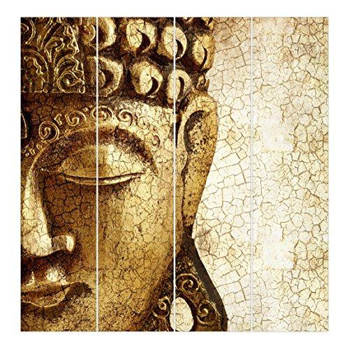 Bilderwelten Schiebegardinen Vintage Buddha - 4 Flächenvorhänge Deckenhalterung 4X 250x60cm