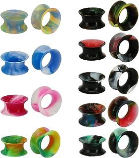 9 paia di dilatatori sottili in silicone flessibile e colorato, dilatatori a doppia svasatura