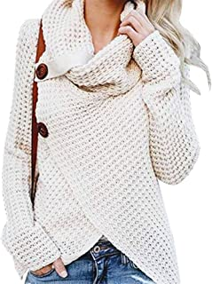 Alician Women Sweater Casual Long Sleeve Cross-Wrap Design Pullover