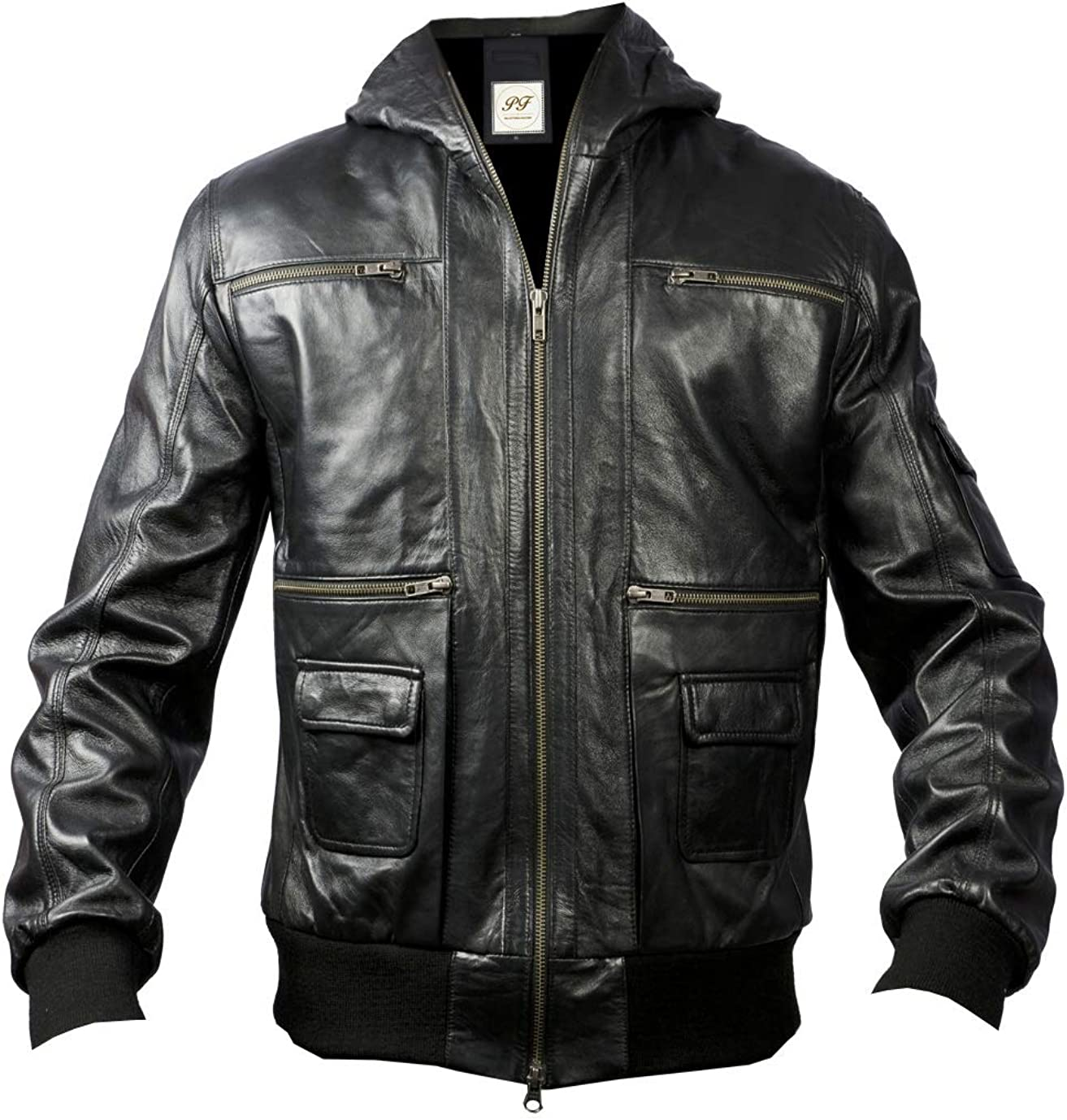 Pelletteria Factory Black Leather Mens Bomber Jacket with Hood - Big and Tall Bomber Jacket Men