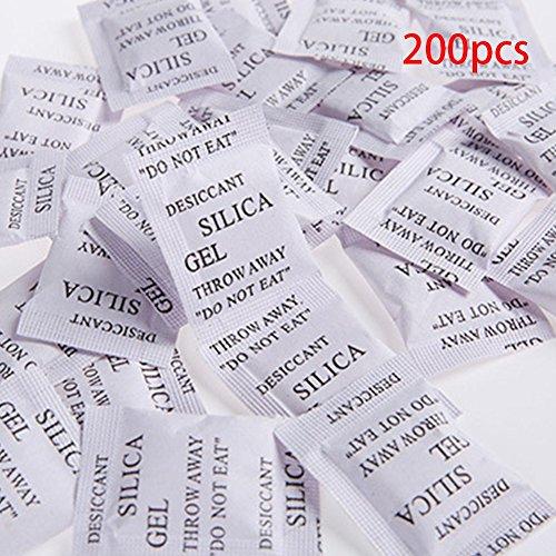 Ganquer 200pcs Gel Sílice Secante Absorber la Humedad Multiuso Secador Agente Bolsas - Blanco, 3 * 4cm