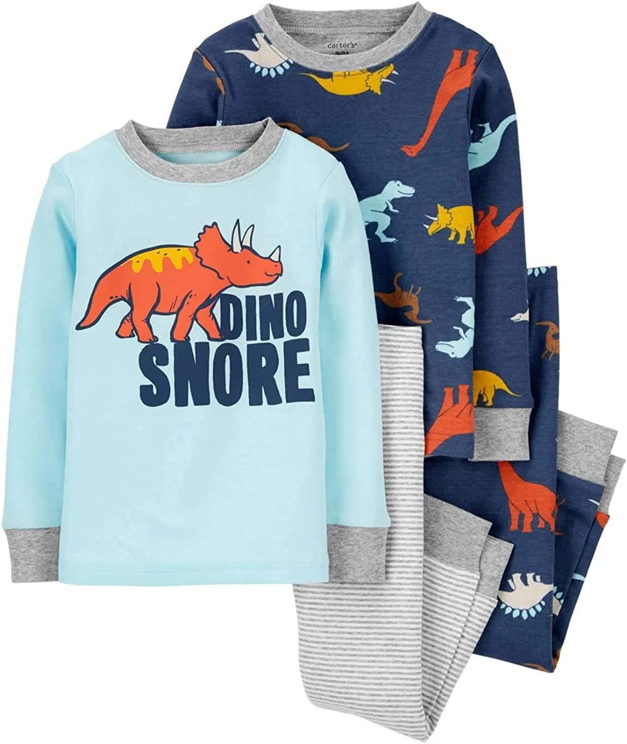 Carter's 4-Piece Toddler and Baby Boy's Snug fit Cotton Pajamas (Dino Snore, 3T)