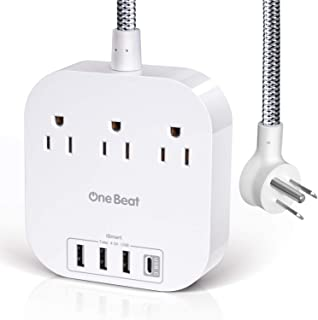 Power Strip with USB C, 3 Outlets 4 USB Ports 4.5A Desktop Charging Station, Non Surge Protector Power Strip Flat Plug and 5ft Braided Extension Cord for Cruise Ship, Home & Office - White