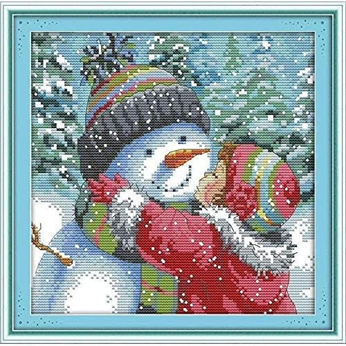 ZOOLD Kreuzstich-Kits für Anfänger Erwachsene Kinder Kreuzstich-Zubehör mit-küssen Schneemann-Stickerei-Mustern 11ct Gestempelte Nadel-Kits Geschenk für Wohnkultur 16 x 20