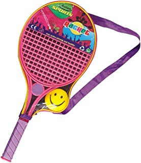 DMC Tennis Badminton Baby Safe Plastic Racket for Kids with Soft Ball and Carry Bag