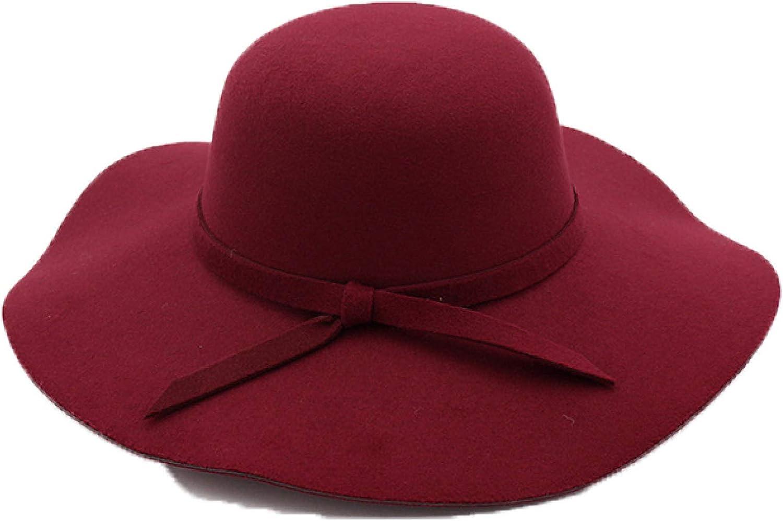 Winter Hats for Women Bucket Cap Soft Vintage Wide Brim Wool Felt Bowler Fedora Hat Floppy Cloche Women's Large Hat