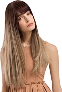 TopWigy Women Brunette Wig Long Straight Synthetic Wigs with Bangs Ombre Brown Natural Look Realistic Wig 24 Inches